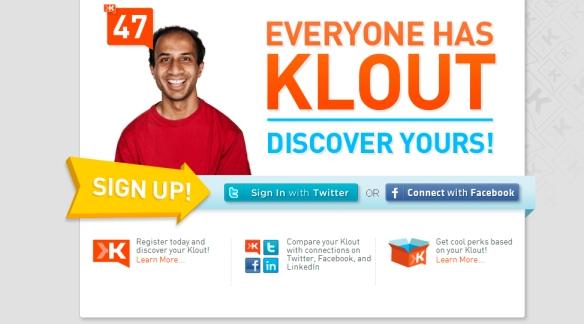 El registro en Klout se realiza a través de tu cuenta de Facebook o Twitter